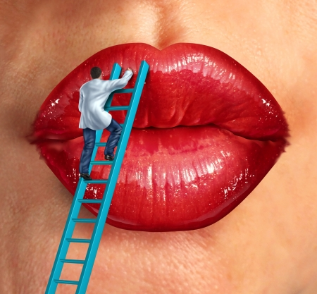 Plastic surgery and cosmetic improvement medical health care concept with a surgeon doctor climbing a ladder ti fix and restore human lips as an idea of fighting the aging process to retain beauty s Stock Photo - 20386497