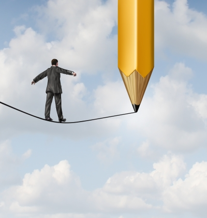 expertise concept: Risk planning and leadership solutions with a businessman walking on a dangerous tight rope with a pencil drawing the future path with the road ahead as a business concept of adapting to change for success