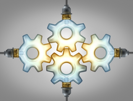 expertise: Business group Inspiration concept as four glowing electric light bulbs in the shape of a gear wheel and cogs connected together in a strong network of partnership for a brilliant success  Stock Photo