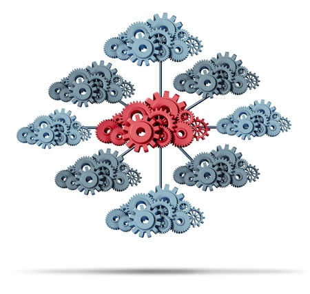 computer cloud: Cloud network technology concept with a group of three dimensional gears and cog wheels connected together as an icon of internet application and digital data storage on a white background