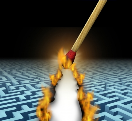 Creating new opportunities with innovative solutions and trail blazing or trailblazing business concept with a lit wooden match opening a clear road through a maze or labyrinth by burning path as a symbol of creative thinking  photo