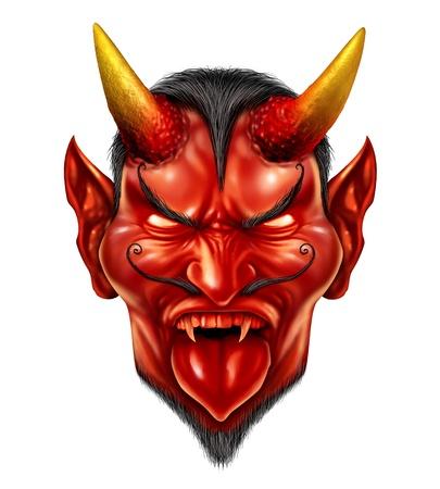 악마는 붉은 피부 뿔이있는 짐승 생물 및 흰색 배경에 위험한 이빨을 가진 무시 무시한 뜨겁고 매운 개념으로 악마 사악한 미소와 함께 할로윈 몬스터