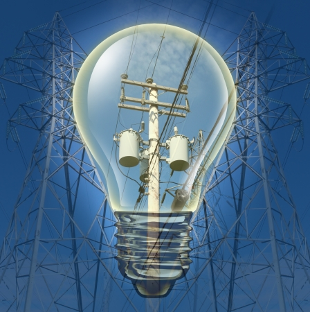 power failure: Electricity concept with power line towers distributing electricity with an Incandescent Light bulb highlighting electrical equipment as an energy and power concept for conservation and the environment  Stock Photo