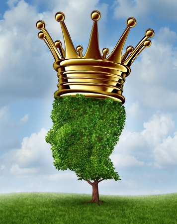 Environmental Leadership concept with a tree in the shape of a human head wearing a gold crown as an award for being a leader for conservation and the protection of the environment on a summer sky background green,responsability, Stock Photo - 20403937