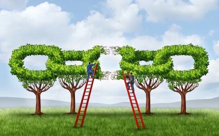 Kweken van een bedrijf partnership en repareren van een verbonden netwerk als een groep van bomen in de vorm van een keten link die kapot is wordt wordt door twee zakenlieden gefixeerd op ladders samen te te werken om een sterke verbinding te vormen