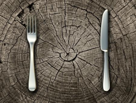 자연 식품의 개념과 날 음식과 소박한 나라 요리와 전통 요리를 대표하는 컷 나무 그루터기 로그에 실버 포크와 나이프 유기 먹고 건강한 생활 아이디