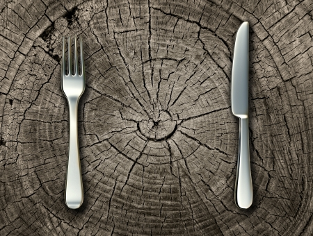fork: Natural food concept and organic eating healthy lifestyle idea with a silver fork and knife on a cut tree stump log representing raw food and rustic country cooking and traditional cuisine