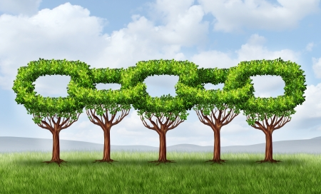 Network growth business concept with a group of growing green trees in the shape of a linked chain connected together as an icon of financial cooperation for wealth building and environmental teamwork Stock Photo - 20403940