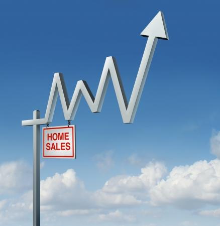 vendiendo: Recuperaci�n de bienes ra�ces y el aumento de la industria concepto de vivienda con una casa comercial para firmar la venta en forma de un mercado gr�fico de la carta financiera stock con una flecha hacia arriba sobre un fondo del cielo como una met�fora de la remontada de la construcci�n