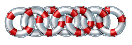 Rescue partnership and safety team concept with a linked chain group made life rings isolated on a white background as an icon of working together to help help save lives of people in need  Stock Photo - 20403930