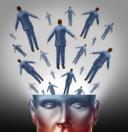 free your mind: Spread the message communication concept with an open human head  with people coming out as a business group marketing and advertising icon