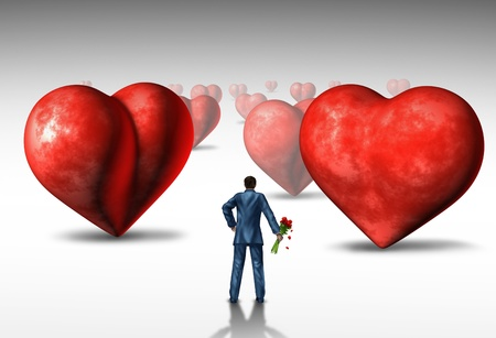 Search for love and relationship difficulties as a businessman holding a bouquet of red roses looking at a three dimensional landscape of heart shaped objects as a concept of romantic issues and emotional challenges  Stock Photo - 20403911
