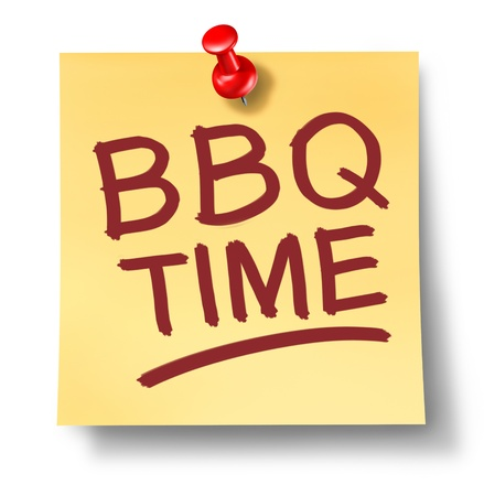 the time: Barbecue office note saying BBQ time on a white background with a red thumb tack as a leisure activity symbol of cooking meat on a hot grill for an outdoor party or summer family get together