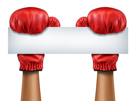 Boxing gloves blank sign as a fight and competition communication message with isolated red boxer equipment holding a horizontal blank white card as a business symbol of competitive sales