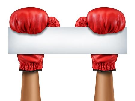 guantes de boxeo: Guantes de boxeo muestra en blanco como una lucha y un mensaje competición comunicación con el equipo de boxer rojo aislado con una tarjeta blanca en blanco horizontal como un símbolo del negocio de ventas competitivas