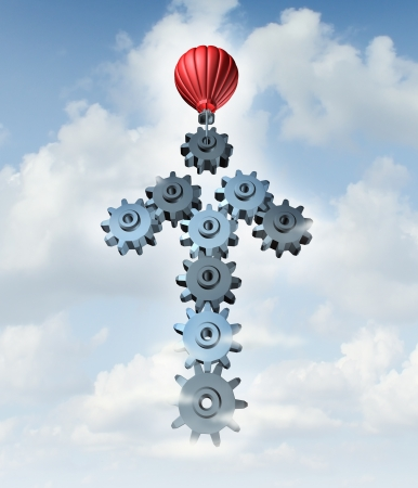 bridged: Building business success with a red hot air balloon constructing an arrow in the sky with a group of connected three dimensional gears and cog wheels as a creative concept of network planning and strategy through organization