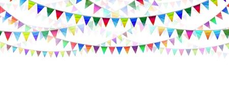 広告として白い背景上のフラグ旗布およびマーケティング コミュニケーションのための水平方向の設計要素として誕生日や特別なイベントのための