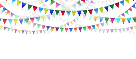 Bunting flags on a white background as an advertising and marketing icon of happy celebration for a birthday or special event as a horizontal design element for communication