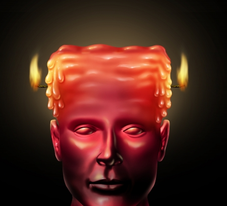 emotional stress: Burning out business concept with a human head as a candle being burnt from both sides as an icon of burnout due to physical and mental exhaustion caused by over work and emotional stress