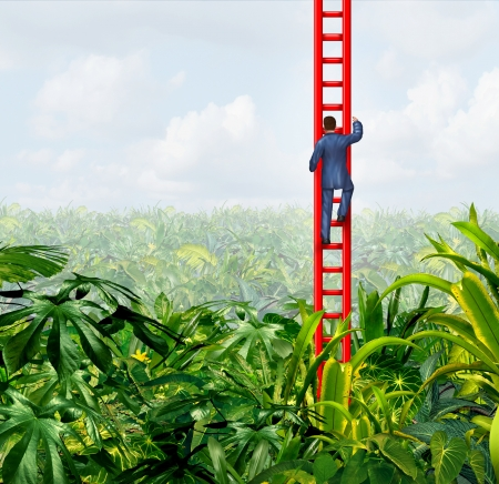 breaking out: Business freedom with a businessman climbing the ladder of success out of a confusing thick dark forest jungle as a business concept of breaking out with direction and leadership on a tropical sky background