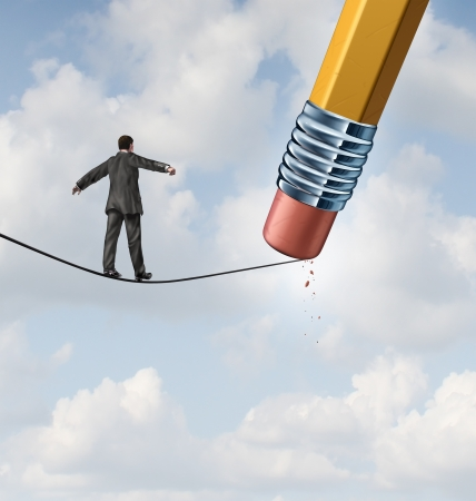 adversity: Changing strategy business concept with a businessman walking on a high wire tight rope that is being erased by a pencil eraser as an icon of conquering new adversity and challenges