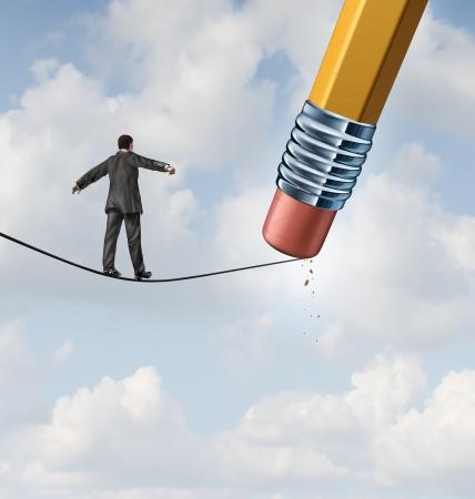 Veranderende strategie business concept met een zakenman lopen op een hoge draad gespannen koord, dat wordt gewist door een potlood gum als een icoon van veroveren nieuwe tegenslag en uitdagingen