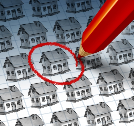 search solution: Choosing a home and house search concept with a red pencil crayon highlighting a drawing from a group of houses as a symbol of finding the perfect family residence and achieving real estate success