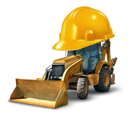 construction machinery: Construction work safety concept with a Bulldozer truck as a yellow generic excavator wearing a giant hard hat to build roads homes and clear the landscape with heavy dangerous machinery on a white background  Stock Photo