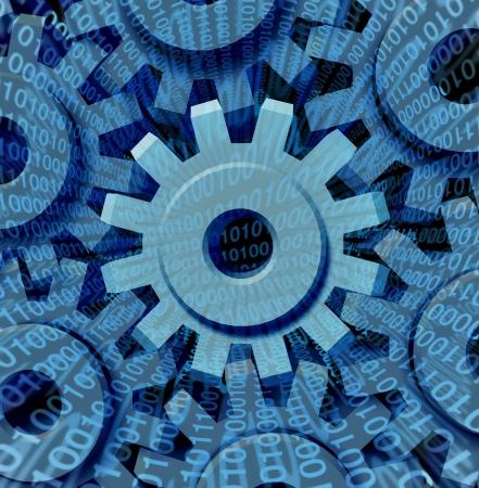 업로드 및 이진 코드는 기술 기계를 통해 스트리밍 네트워크에서 서로 연결하는 기어와 톱니 바퀴의 그룹으로 다운로드하는 인터넷 비즈니스를위한
