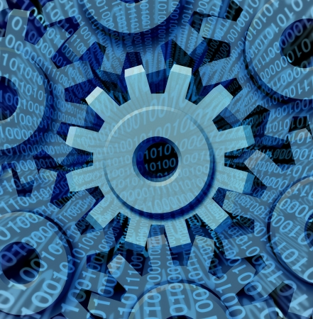 info: Data transfer and digital industry for internet business to upload and download with a group of gears and cog wheels connected together in a network with binary code streaming through the technology machine  Stock Photo