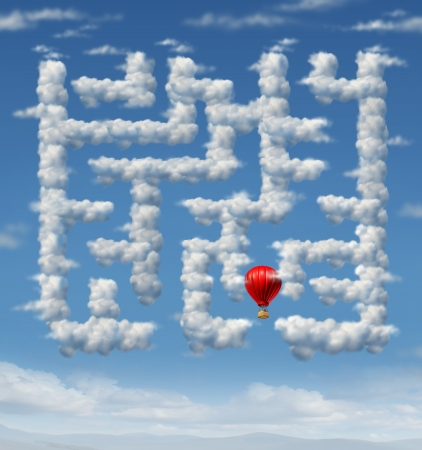 navigating: Sky is the limit concept with a red hot air balloon flying up to the sky navigating through a group of storm clouds in the shape of a maze or labyrinth puzzle as an icon of leadership strategy and success planning  Stock Photo
