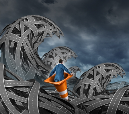 water's: Search for direction business concept with a businessman floating in a traffic cone through a pile of tangled roads and highways shaped as high waves from an ocean storm as an icon of leadership through uncertainty  Stock Photo