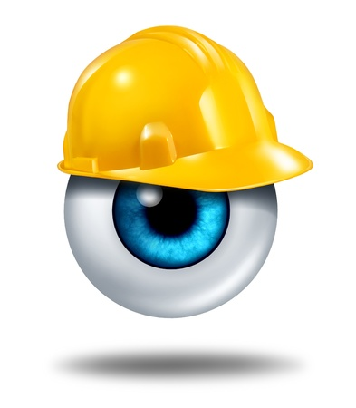protection icon: Protecting your eyes and vision protection with a human eyeball wearing a yellow construction hard had as a healrh care concept of eye care or insurance coverage on a white background