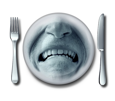 queasy: Bad service experience at an awful restaurant with a fork and knife and a plate whith a disgusted grossed out and disgruntled customer expression that has nausea or food poisoning  Stock Photo