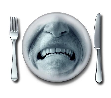 industria alimentaria: Mala experiencia de servicio en un restaurante horrible con un tenedor y un cuchillo y un poco con una placa de asco y de expresi�n cliente descontento disgusto que tiene n�useas o intoxicaci�n alimentaria Foto de archivo