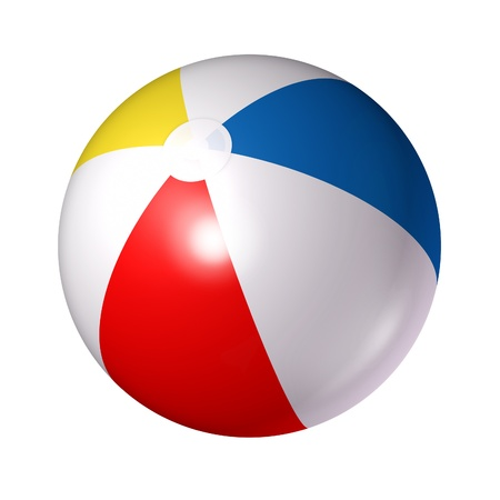 bola de billar: Pelota de playa aislada sobre un fondo blanco como un símbolo clásico de la diversión del verano en la piscina o el océano con una esfera de plástico inflada de azul rojo blanco y rayas amarillas