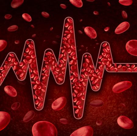 red blood cell: Gl�bulos concepto como una vena o arteria en forma de un ECG o EKG como un trazo gr�fico monitoreo l�nea de vida de pulso con plasma roja fluye como la asistencia sanitaria y s�mbolo m�dico para el diagn�stico la circulaci�n del cuerpo humano Foto de archivo