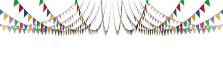 Bunting flag concept on a white background as an advertising and marketing icon of happy celebration for a birthday or special event as a horizontal design in perspective as a design element for communication