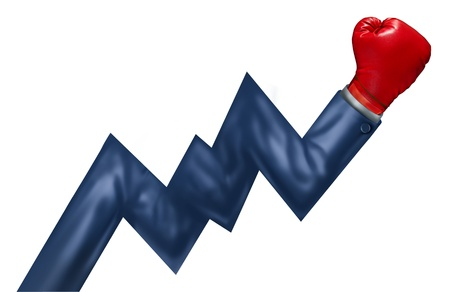 Competitive growth performance and successful leadership as a business concept of powerful financial management as an arm of a businessman with a red boxing glove shaped as a stock market graph isolated on white Stock Photo - 20688438