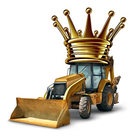 urban planning: Construction leader business concept with a yellow bulldozer vehiclewearing a giant gold crown as a symbol of success and leading the architecture and urban planning industry