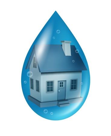 aguas residuales: Concepto de seguro contra inundaciones y da�os por agua a un hogar residencial con una casa flotante en una gota azul del l�quido como un s�mbolo de los problemas de inundaciones aisladas en un fondo blanco