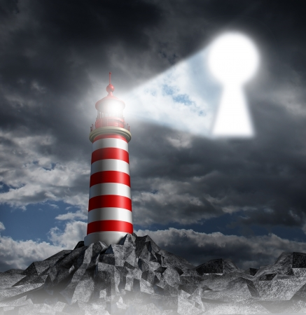 adversity: Guidance key business concept with a lighthouse beacon tower shinning a guiding light shaped as a key hole on a stormy dark background sky as a symbol of hope and finding solutions  Stock Photo