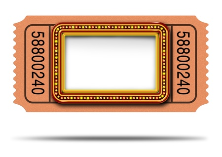 important event: Movie marqueee ticket with blank copy space as a Hollywood theater and cinema concept with a glowing group of lights on a sign frame as a billboard icon for communicating an important event or show on a white background  Stock Photo