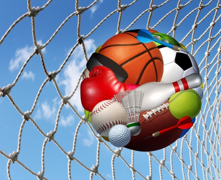 Sports activity  success concept and fitness activities through the playing of  a team or individual sport with aball made from a group of game balls and equipment as basketball football soccer bowling scoring in a net