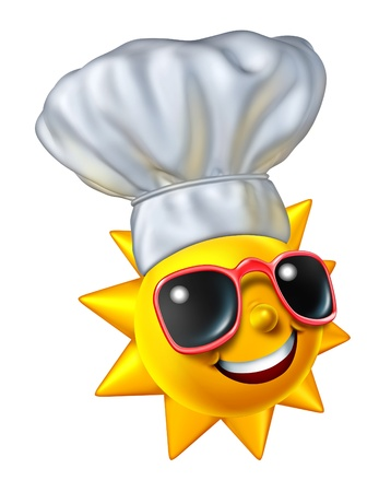 summer wear: Summer cooking and barbecue grilling in the outdoors for holidays as a bright happy sun character wearing a chef hat as a food and drink concept for leisure lifestyles isolated on a white background