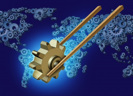 Asia export business concept for global trade as a pair of wooden chopsticks transporting a three dimensional gear or cog industry icon on a group of gears and cogs shaped as a world map for Asian global partners  photo
