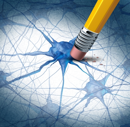 brain function: Brain disease dementia problems with loss of memory function for alzheimers as a medical health care icon of neurology and mental illness as a pencil erasing neuron cells from the human anatomy