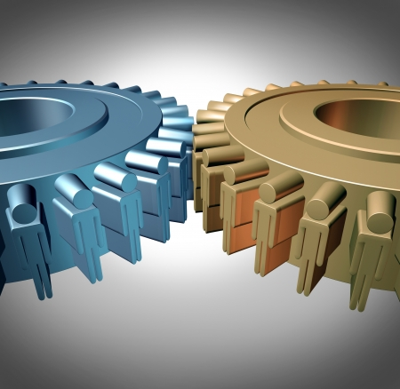 teamwork together: Business Teamwork concept with two merged gears or cog wheels shaped as business people icons in a meeting connected together as an organized working partnership for corporate strength and industry success  Stock Photo