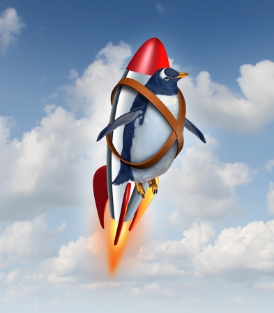 migrations: Determined to succeed and overcome limitations concept as a realistic penguin flying in the air using a rocket as a business symbol of achievement potential and possibilities in your abilities to overcome obstacles