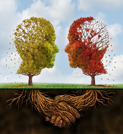Fading team business concept with two autumn trees losing leaves in the shape of human heads with roots underground shaped as shaking hands as a team agreement that is losing strength on a sumer sky  Stockfoto